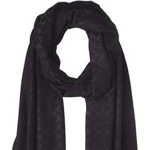 NWT COACH Oblong Scarf Black Silver Silk 27560
